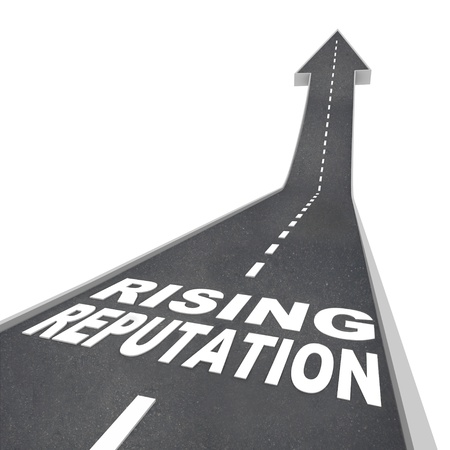 reputation: The words Rising Reputation on a road leading higher with an arrow pointing up, symbolizing an improving standing with your audience, that you are trustworthy, credible, popular and an authority Stock Photo