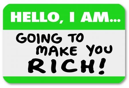言葉で namtag ステッカーこんにちは私はあなたを豊か、計画またはあなたの富を成長し、たくさんのお金を作る機会をしたことを通知するつもりです