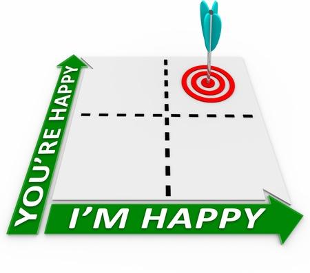desired: Una matriz con una flecha en un blanco en las plazas que representa Estoy feliz de que est�s feliz, con el objetivo de la meta de los intereses mutuos y objetivos comunes para la satisfacci�n de ambas partes en la negociaci�n Foto de archivo