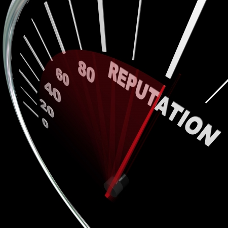 reputation: A speedometer with needle racing to the word Reputation symbolizing an improving credibility level and the respect and trust people place in your opinions and knowledge on a subject Stock Photo
