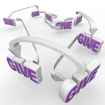 charitable: Many Give words connected by arrows representing fund-raising and spreading the word of relief efforts and charitable volunteer work