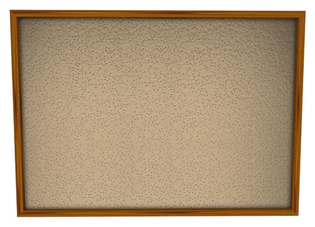 informing: A blank bulletin board in wood frame and lots of space for you to place pictures and papers Stock Photo