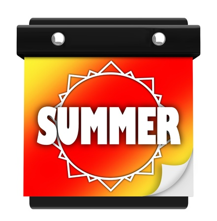 warmer: The word Summer on a colorful orange, red and yellow background with a sun on the tearawy page of a wall calendar with pages you turn to change the date or day, symbolizing the start of a hot new season