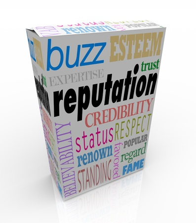 reputation: The word Reputation and many related terms such as credibility, status, esteem, regard, respect, buzz, believability and more -- on a white product box advertising you as a leader in your field Stock Photo