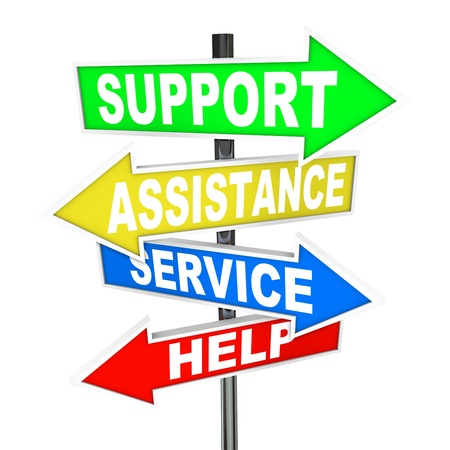 Many colorful arrow signs point to a solution to your problem, offering support, assistance, service and help to give advice in finding an answer to your trouble Stock Photo - 13360802