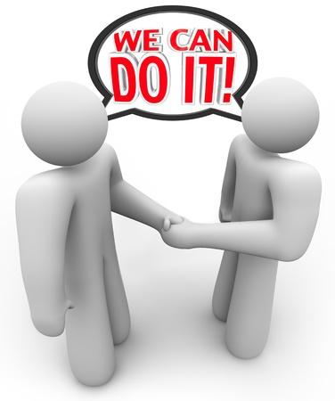 closing business: Dos personas se dan la mano y decir con una burbuja de di�logo podemos hacerlo para representar a un acuerdo o convenio que ambos creen que ser� un �xito
