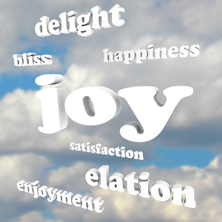 Het woord Vreugde en vele verwante woorden en termen in 3d letters tegen een bewolkte blauwe hemel, met inbegrip van het genot, geluk, vreugde, opgetogenheid en tevredenheid