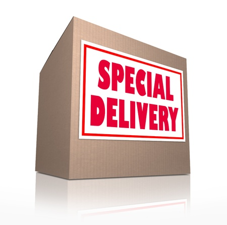 The words Special Delivery on a cardboard box sent through the mail containing merchandise from shopping or a gift or present for a special occasion Stock Photo - 13406064