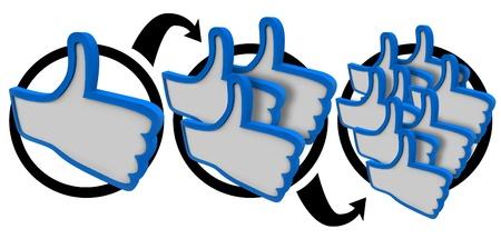 mucha gente: Un dedo pulgar hacia arriba se convierte en tres y luego hasta su popularidad crece y se corre la voz que usted tiene una buena reputaci�n y son llamados favorita de muchas personas en su audiencia Foto de archivo