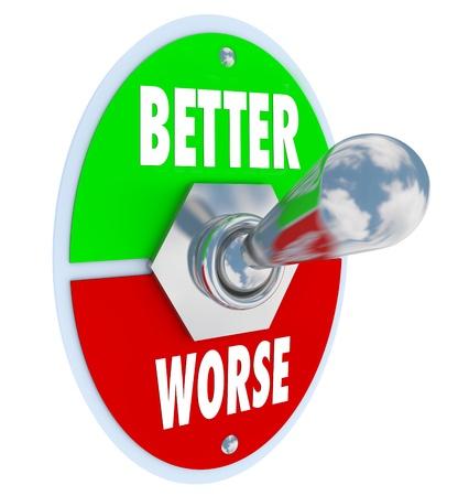 palanca: Un interruptor de palanca de metal con placa de leer mejor y lo peor, con la palanca de vuelta, para mejorar o recuperar su salud y realizar mejoras Foto de archivo