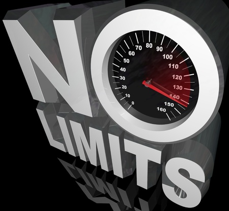 surpass: The words No Limits with a speedometer and racing needle representing unlimited speed and potential in reaching your goal