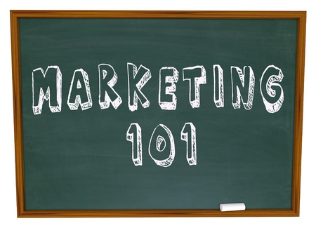 inquiring: Marketing 101 written on a school chalkboard giving you a lesson in the basics of business selling and market research in growing your company or orgnaization to success and goal achievement