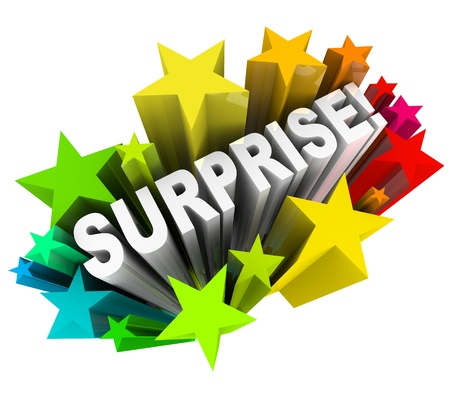 sent: The word Surprise in 3d letters shooting out of a burst of colorful stars or fireworks illustrating the excitement of fun news or information