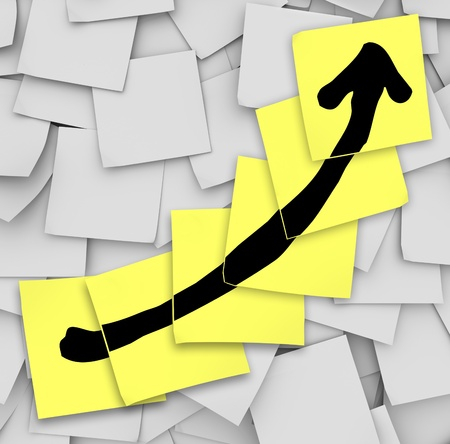 sticky note: An arrow drawn on several yellow sticky notes to track your success or growth in improving or increasing your results as you work toward a succeeding in a goal or work project
