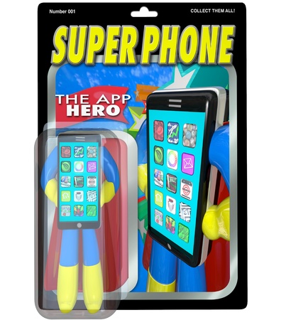 super market: An action figure in a package for Super Phone, the App Hero who is the best smart cellphone available to buy on the market, meeting all your communication needs Stock Photo