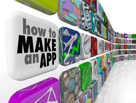 mobile application: How to Make an App message on a white application tile in a wall of downloadable software icons, promising advice and instructions on programming or developing apps for phones and mobile devices