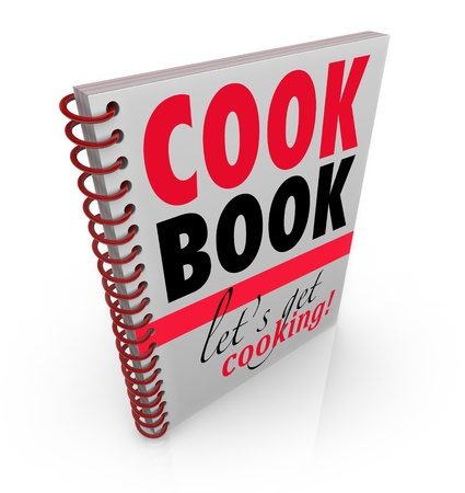A spiral bound book with the title Cookbook or Cook Book and subtitle Let