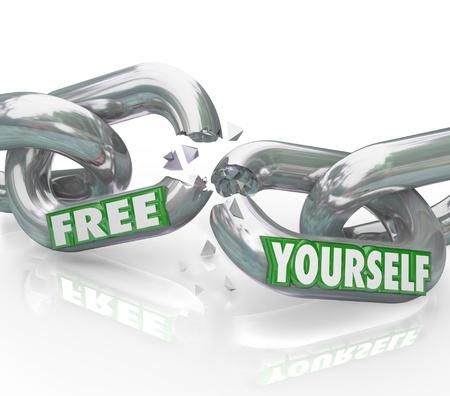 chainlinked: De woorden Bevrijd jezelf op schakels breken wat neerkomt op een strijd voor vrijheid en bevrijding van onderdrukkende regels en gezagsdragers binden u van bevrijd Stockfoto