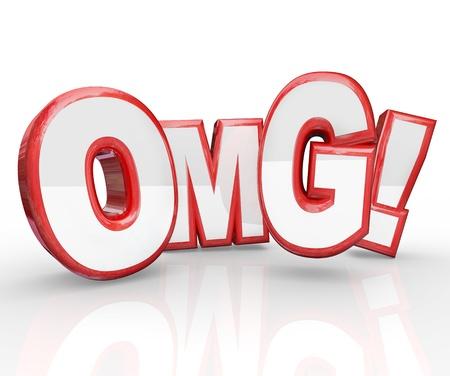 abbreviated: Red 3D lettere OMG l'acronimo di Oh My God, esclamazione che esprime shock, sorpresa, stupore e la sensazione di essere storditi o incredulo