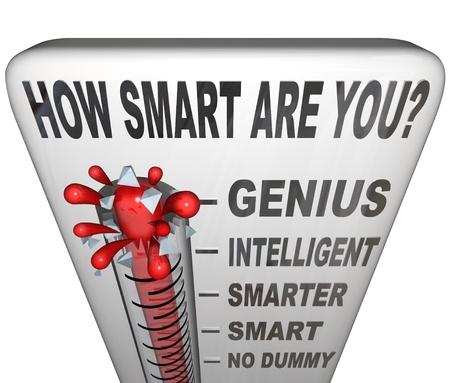 kwis: Een thermometer gemarkeerd Hoe slim ben je het meten van je intelligentie niveau, met kwik stijgt het verleden geen dummy, Smart, slimmer en het woord Intelligent Stockfoto