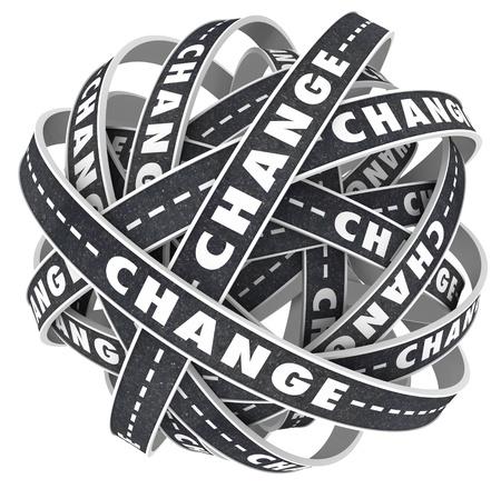 arbitrario: Muchos caminos girar y girar con la palabra cambio para indicar la necesidad de trasladarse a un destino diferente o la dirección de alterar su rumbo en la vida Foto de archivo