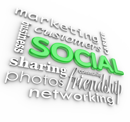 socializing: The word Social and related terms in 3D such as customers, friendship, community, networking, marketing, business, photos, sharing and career Stock Photo