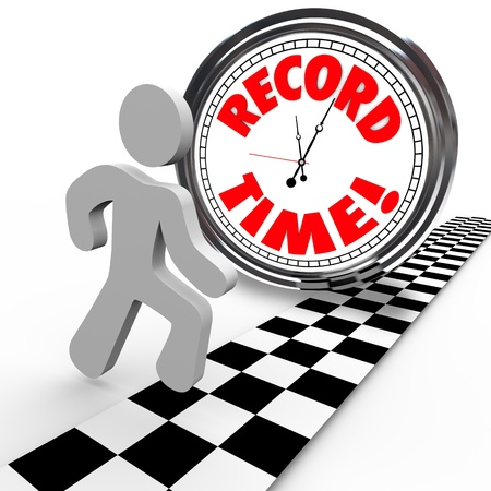 accomplish: The words Record Time on a clock with a person reaching the finish line to achieve or accomplish a new personal best timing in completing a race or objective