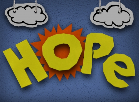 hoping: A paper and cardboard cutout background with the word Hope in front of the sun with clouds in the sky to symbolize hoping and faith that a better, brighter day will come Stock Photo