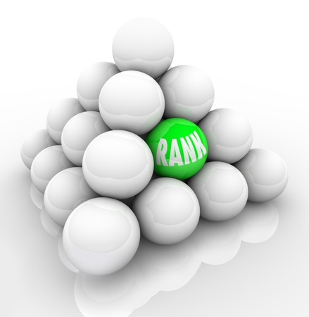 A single green ball marked Rank in the middle of many others to represent your ranking in relation and comparison to your competition or others in your market Stock Photo - 13763361