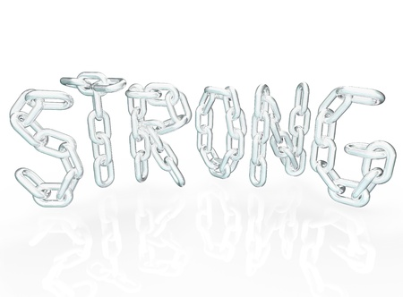 The word Strong in chain links representing strength in partnership, cooperation, teamwork, unity, community and joining together to work toward a common goal Stock Photo - 13773659