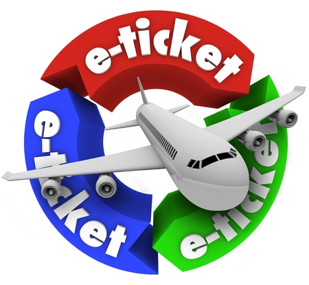 A jet airplane flying through a circular pattern of arrows featuring the word e-ticket to illustrate electronic ticketing for your flight travel photo