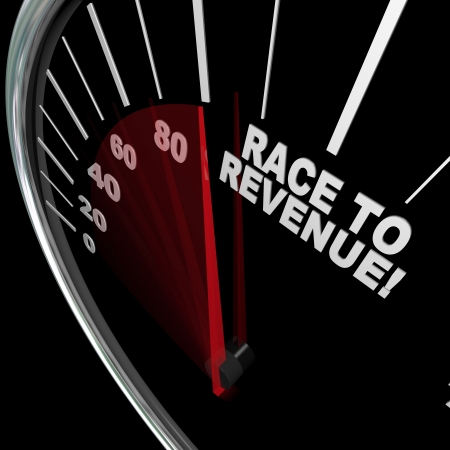 A red needle racing on a speedometer to the words Race to Revenue to symbolize the speed of growth in rising profits and funds Stok Fotoğraf - 13903844