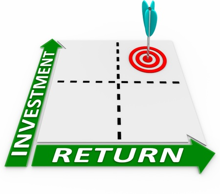 maximize: Maximize the return on your investment by increasing the amount you invest and growing the amount of your return or R.O.I. Stock Photo