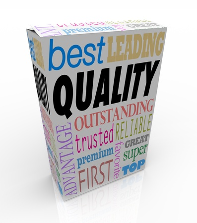Quality makes your product stand out, with positive words and terms on the package such as best, leading, outstanding, great, trusted, reliable, premium, favorite and more Stock Photo - 13903854