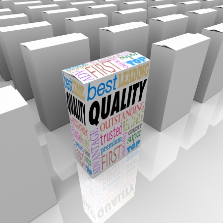 leading: One unique box marked Quality stands out as better among many competing products, best of a crowded store shelf as the most reliable, trusted, effective and proven product Stock Photo