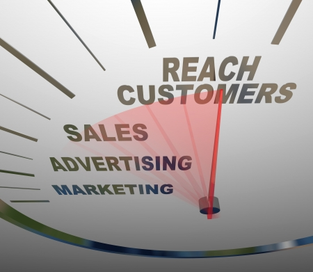 increasing: A speedometer with needle racing to the words Reach Customers, rising past the terms Advertising, Marketing and Sales to form a successful business plan for achieving growth
