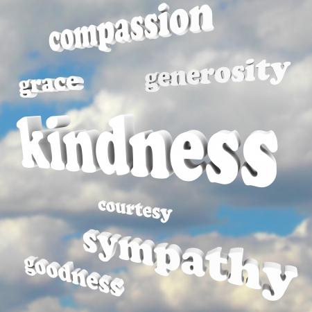 Het woord Vriendelijkheid drijvend in een blauwe, bewolkte hemel, met verwante woorden en begrippen als genade, medeleven, gulheid, medeleven, goedheid en hoffelijkheid Stockfoto
