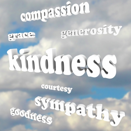 sympathetic: The word Kindness floating in a blue, cloudy sky, with related words and terms such as grace, compassion, generosity, sympathy, goodness and courtesy Stock Photo