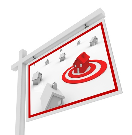 A house in a red target bulls-eye on a for sale sign symbolizing the search for the right real estate home for you in your upcoming move or relocation photo