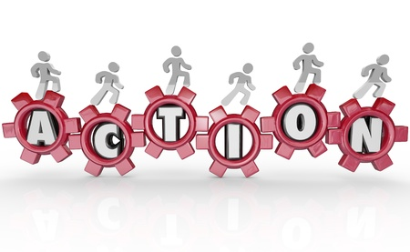 agile: A team of people march on gears each featuring a letter of the word Action Stock Photo