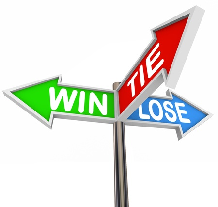 Three arrow road signs with the words Win, Lose and Tie to represent results of a game or competition - will you be winner, loser, or equal competitor tying with others Imagens