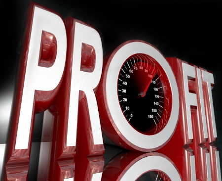 profitability: The word Profit with a speedometer in the letter O,  and a red needle racing higher Stock Photo