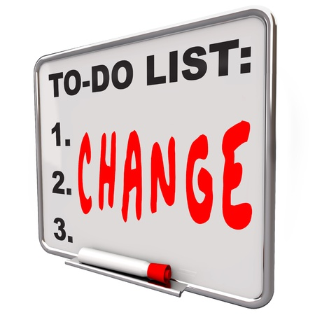 dry erase: The word Change written under words To Do List on a Dry Erase Board telling you to adapt and improve to succeed in business or life