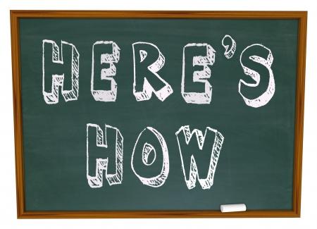 De woorden Hier is Hoe geschreven op een school bord, het aanbieden van een les en informatie tips over het oplossen van een probleem of het beantwoorden van een vraag, hoe het advies van een adviseur of deskundige