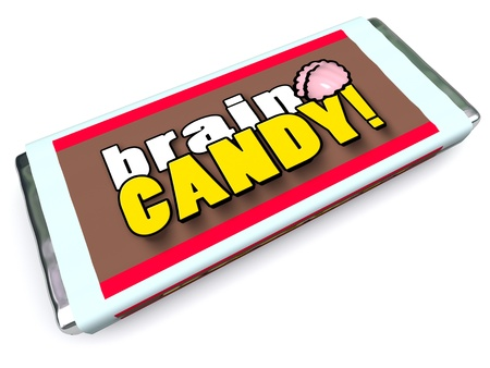 ponder: A candy bar with the words Brain Candy on the package wrapper to symbolize brainstorming, ideas, thoughts, other concepts related to mind power