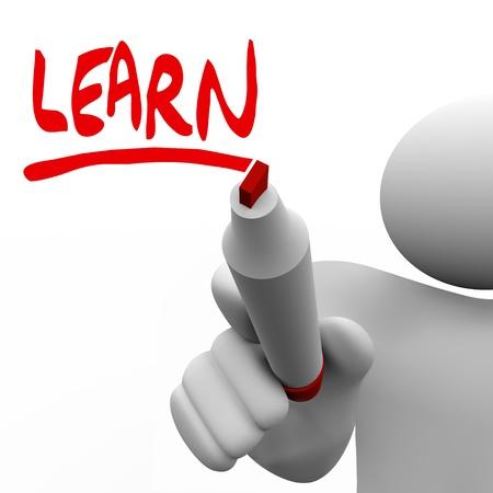 informait: Un enseignant ou un chef de file �crit le mot Apprendre � inspirer sa classe ou de l'�quipe pour obtenir des informations et des connaissances nouvelles � travers l'�ducation ou comment � l'instruction Banque d'images