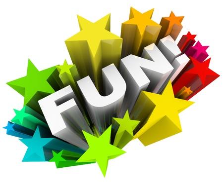 Het woord Fun in een uitbarsting van kleurrijke sterren wat neerkomt op een leuke, entertainment manier om je tijd te besteden aan iets recreatieve of andere vorm van spelen Stockfoto