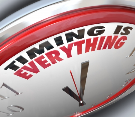 timely: The words Timing is Everything on a clock to illustrate the importance of being on time, punctual and the speed of a fast response to take advantage of opportunity and claim success Stock Photo