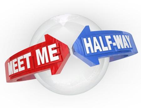 Zwei Pfeile mit den Worten: Meet Me Half-Way um eine Kugel, die einen Kompromiss, der Abwicklung, Frieden, Waffenstillstand oder einer sonstigen Vereinbarung der Beilegung einer Streitigkeit