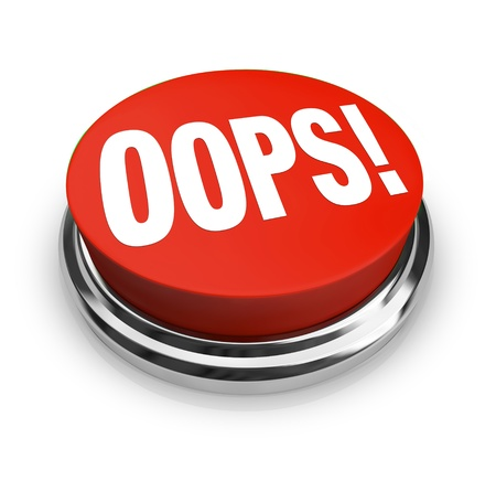 apology: A big red button with the word Oops to press and get customer support or service or to fix or correct an error, mistake, problem or gaffe you have made